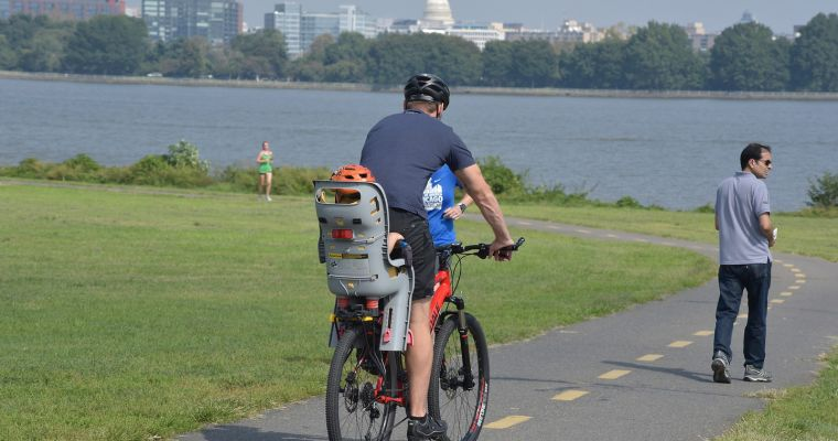 Biking along the Mount Vernon Trail at Gravelly Point Park