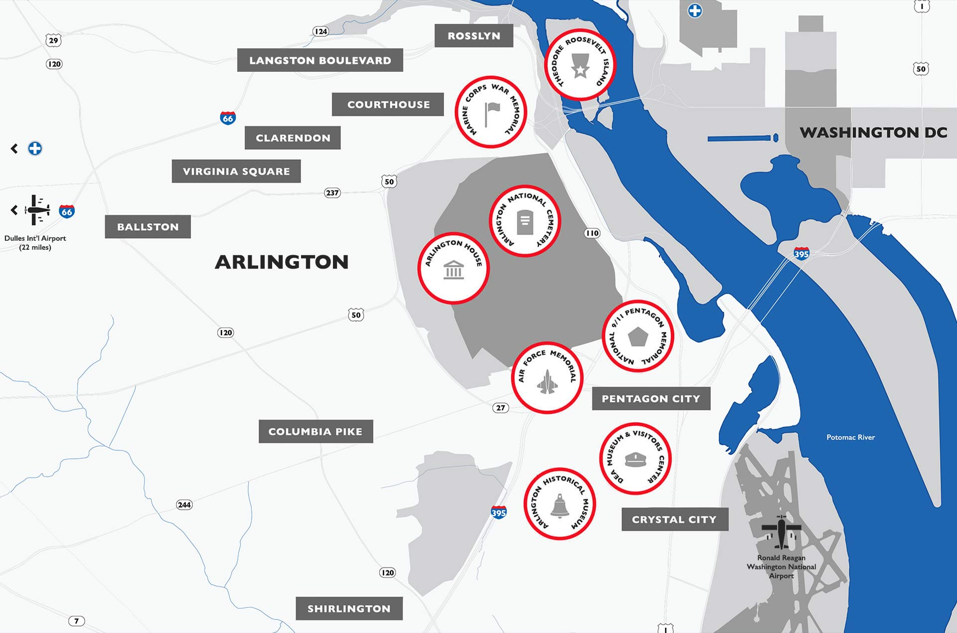 Arlington area map